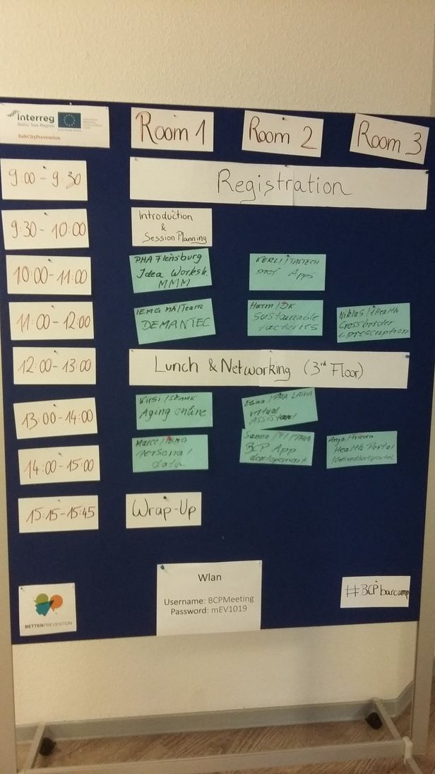 The final timetable of the BarCamp